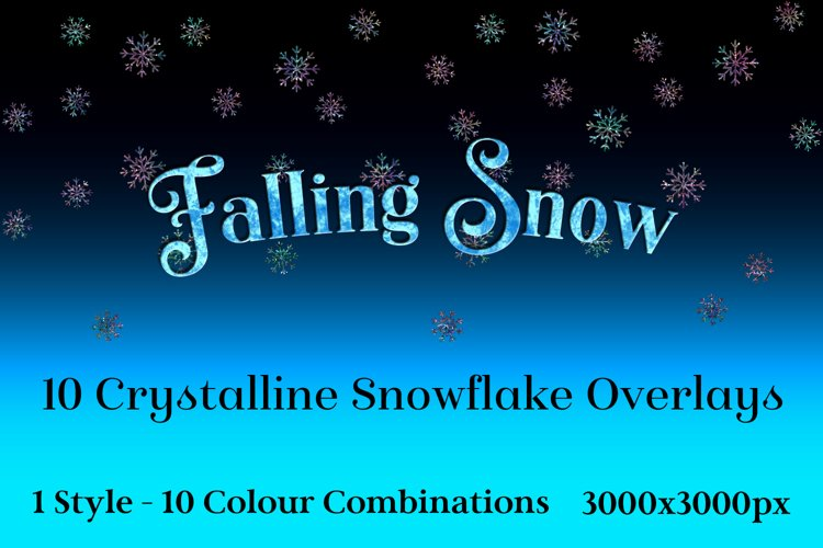 Falling Snow - 10 Crystalline Snowflake Overlays example image 1