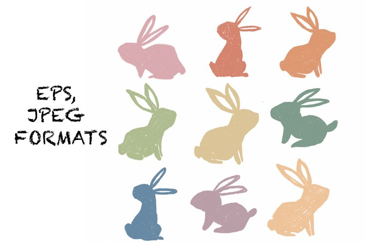 Easter bunnies colourful silhouette. Cute animals