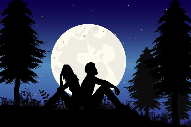 silhouette of couple in love, simple vector illustration example image 1