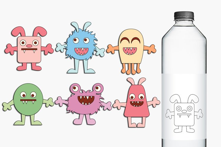 Monsters clip art and digital stamps, pastel colors example image 1