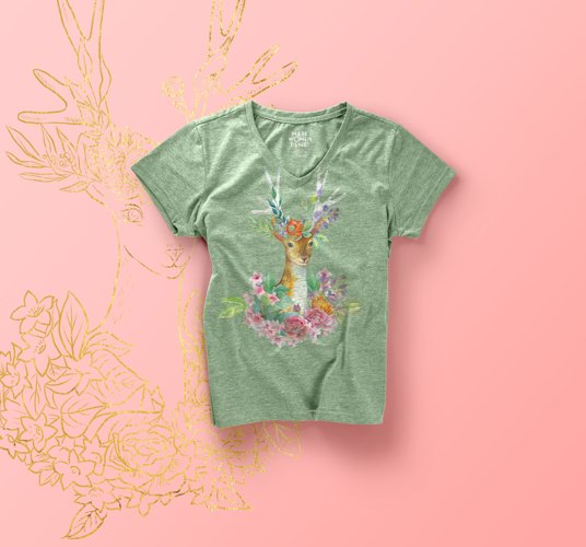 Watercolor floral deer printable clipart, golden graphics example 6