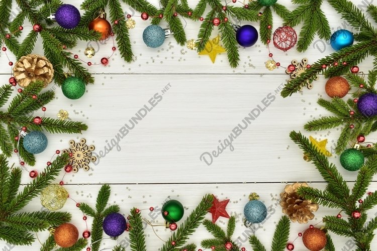 Christmas decorations on white wooden boards. example image 1
