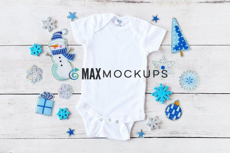 Baby bodysuit Mockup, Christmas winter blues, flatlay photo