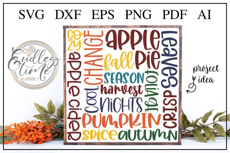 Fall Subway Art Word Collage - a Simply Fantastic Fall SVG example image 1