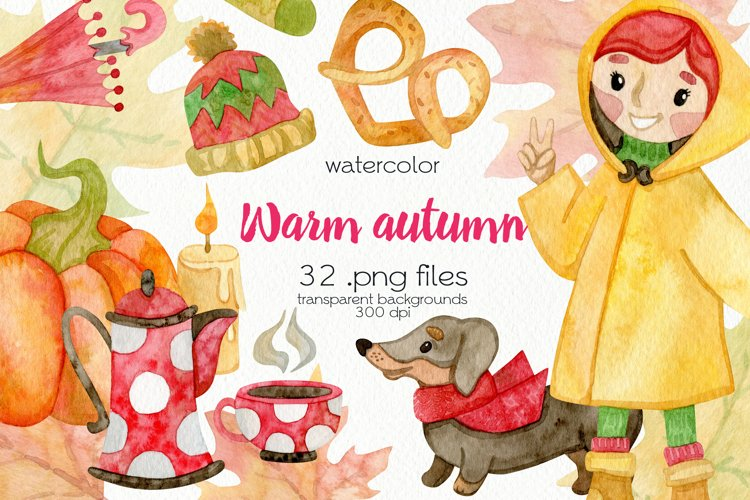 Watercolor Autumn Clipart - PNG Files example image 1