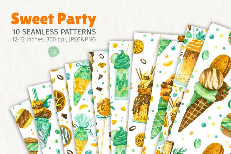 Sweet Party. 10 seamless patterns. example image 1