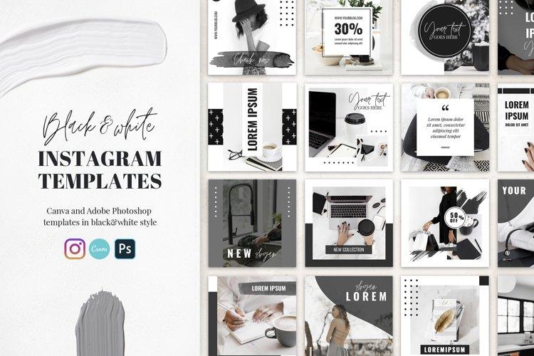 Canva Instagram Templates Black&White example image 1