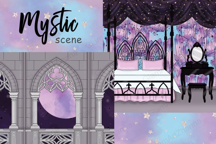 Mystic SCENE, Star Clipart, Moon Celestial Clipart PNG files