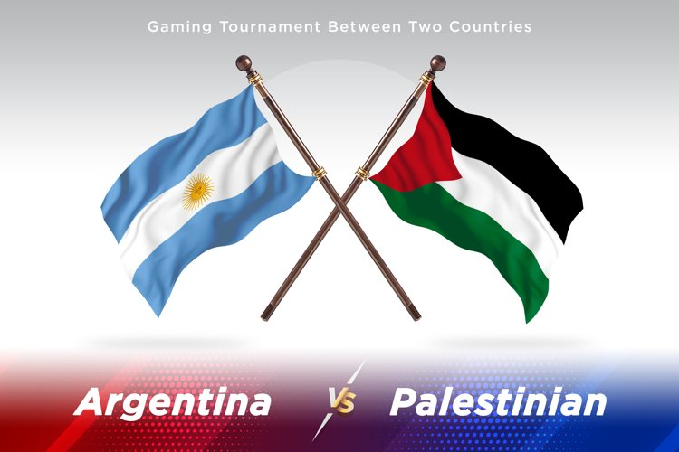 Argentina vs Palestinian Two Flags example image 1
