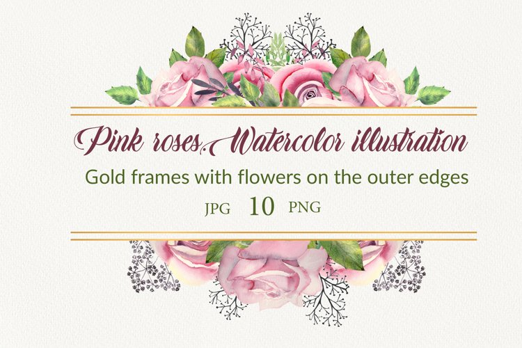 Pink roses.Watercolor frames example image 1