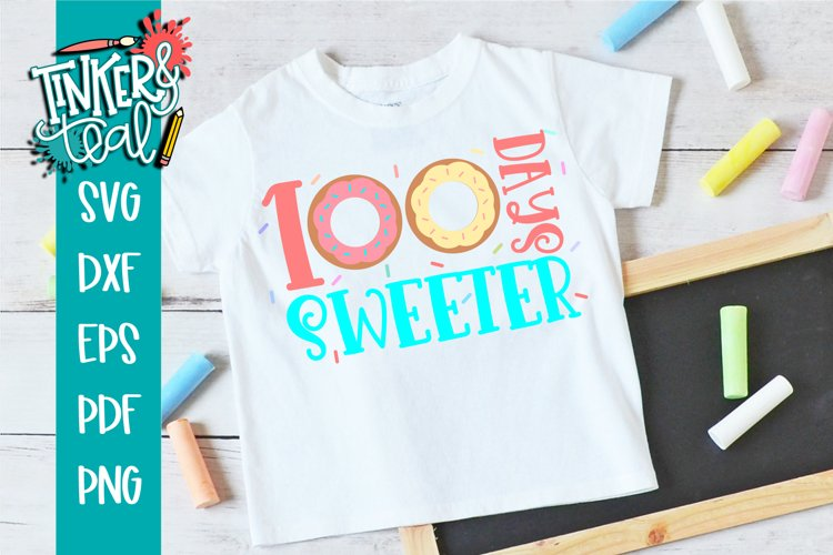100 Days Sweeter Donut School SVG example image 1