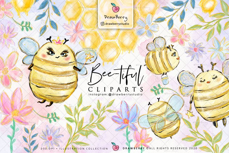 Honey Bumble Bee Glam Clipart PNG   DrawBerry CP007 example image 1