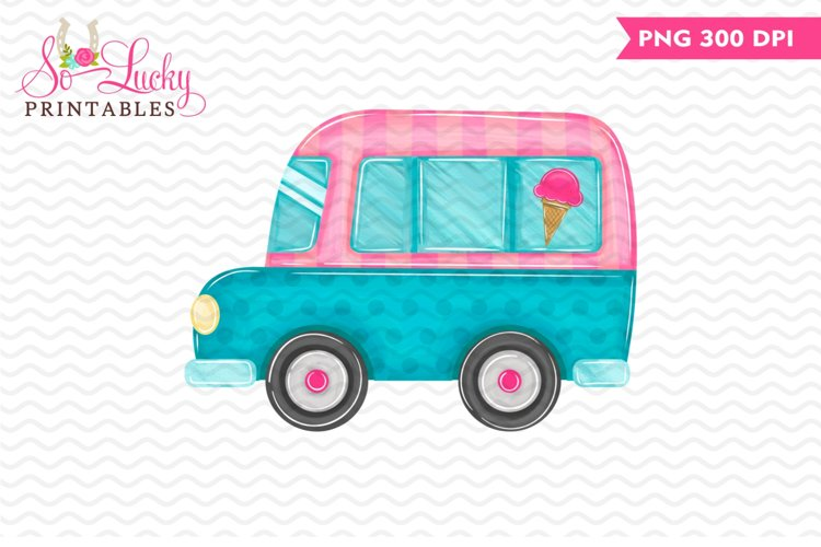 Ice Cream Truck printable sublimation design example image 1
