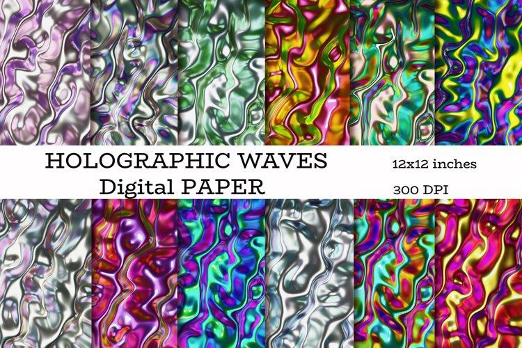 Metallic holographic waves digital paper