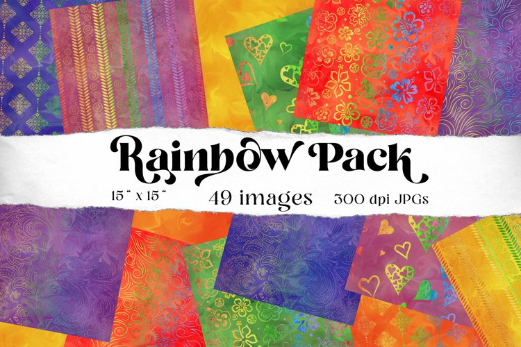 Rainbow digital scrapbooking papers, 49 images