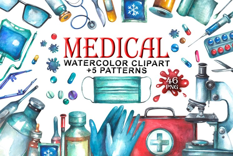Watercolor Medical Clipart example image 1