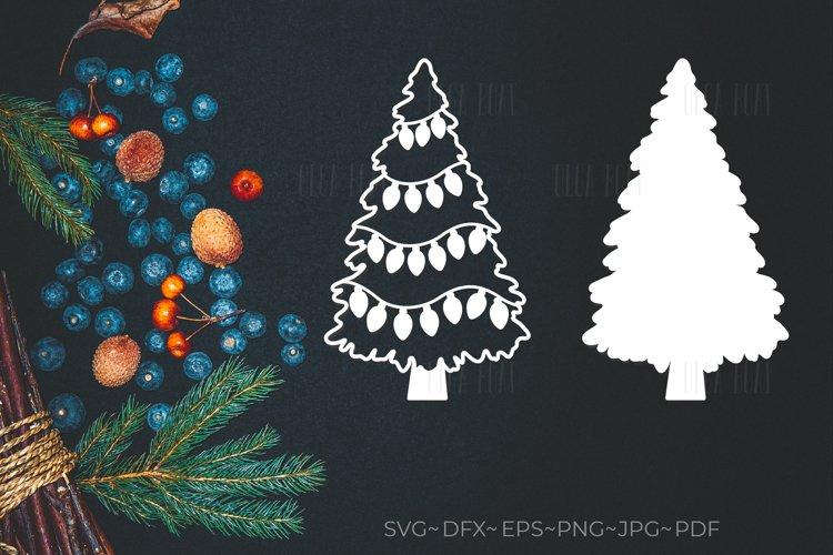 Christmas tree svg. Christmas tree lights Papercut Silhouett example image 1