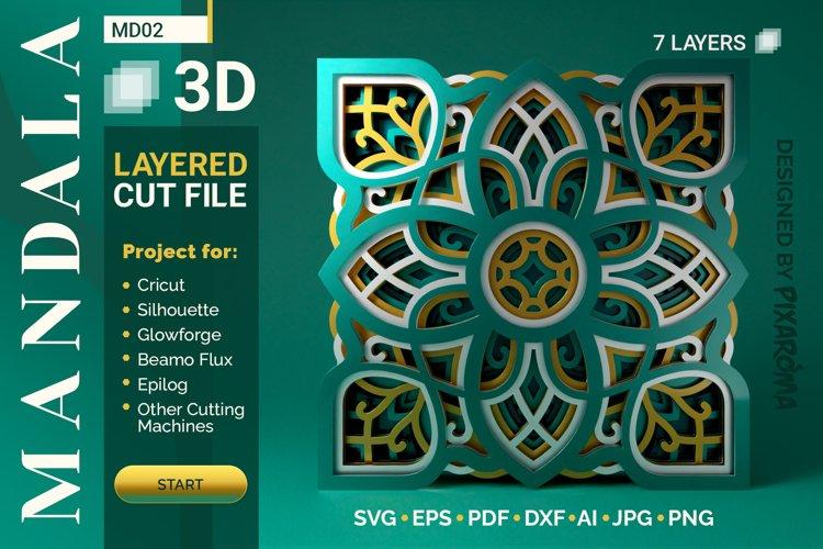Mandala MD02 3D Layered SVG Cut File