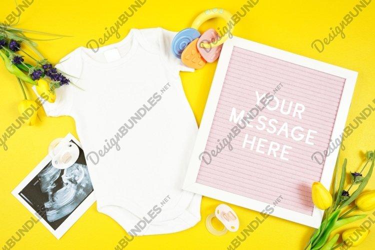 Springtime Baby Onesie Bodysuit Letterboard Mockup Photo example image 1