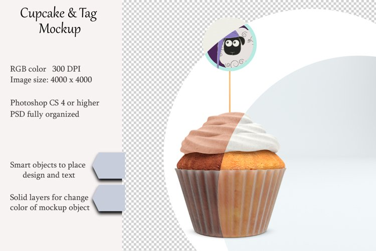 Cupcake tag mockup. Product place. PSD object mockup. example image 1
