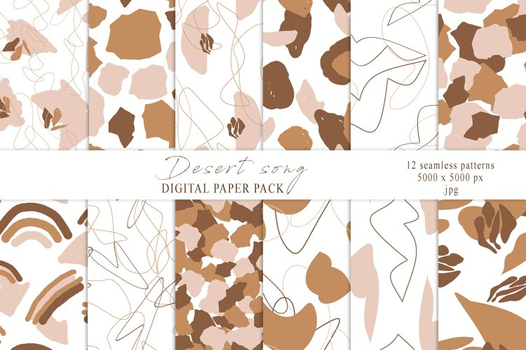 Abstract boho beige shapes seamless patterns