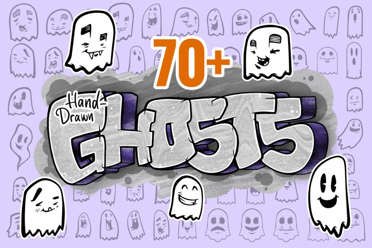 70 Hand Drawn Vector Ghosts example image 1