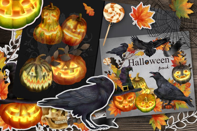 Halloween clipart set with raven pumpkin fall leaves sweets example image 1