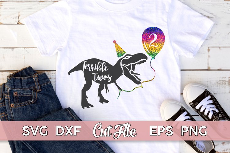 2nd Birthday SVG, Two Years Old shirt   Dinosaur Cut File