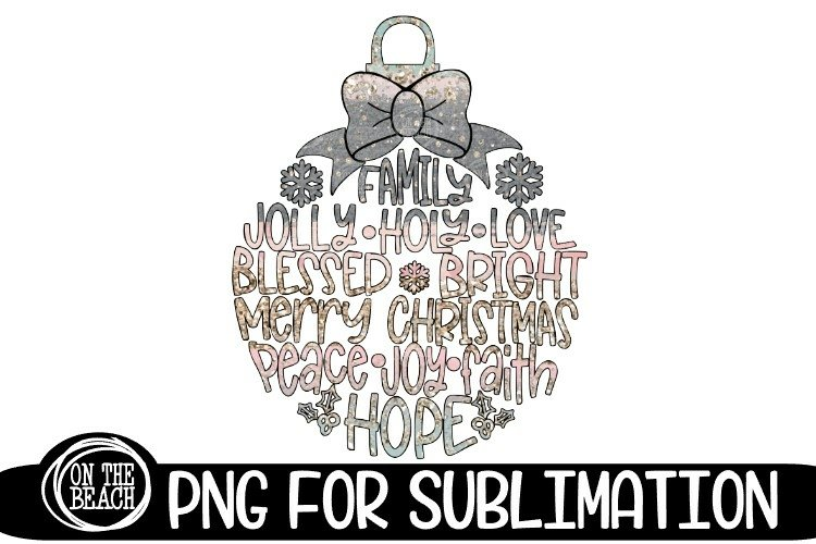 Christmas Ornament Sublimation Pastel Glitter Christmas PNG