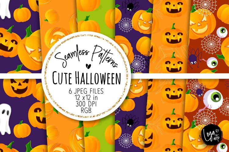 Cute Halloween Seamless Patterns 05 example image 1