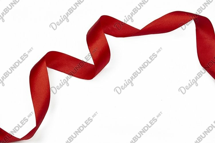 decor festive red ribbon for gift on isolated
