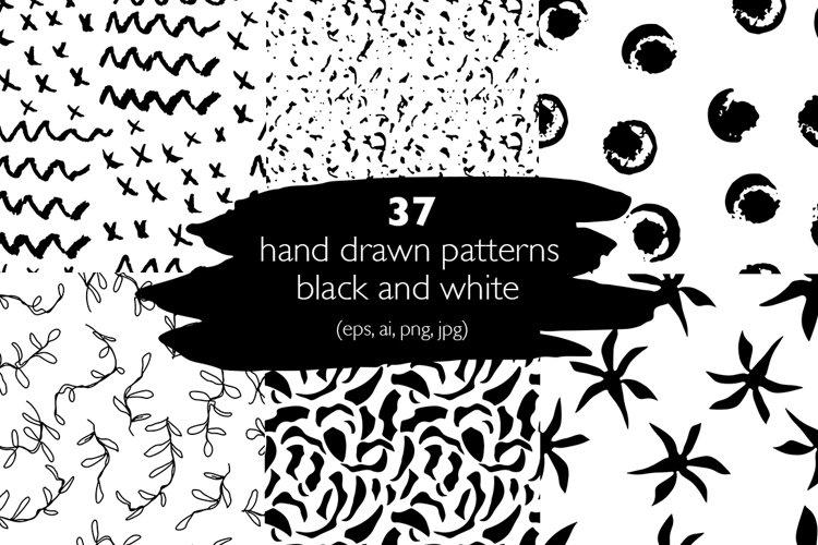 37 monochrome patterns. Hand drawn seamless backgrounds.