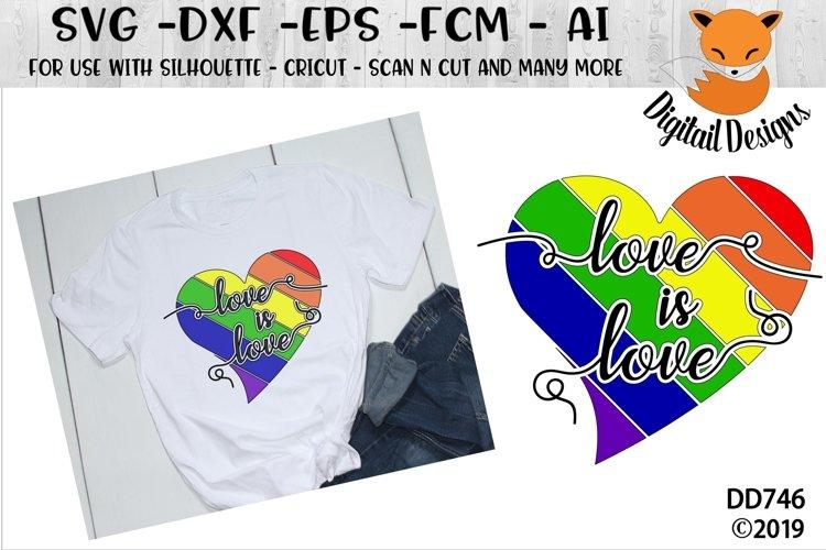 Love Is Love Rainbow Heart LGBT SVG example image 1