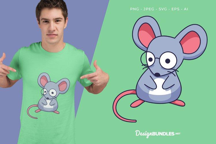 Nerd Mouse Vector Illustration For T-Shirt Design