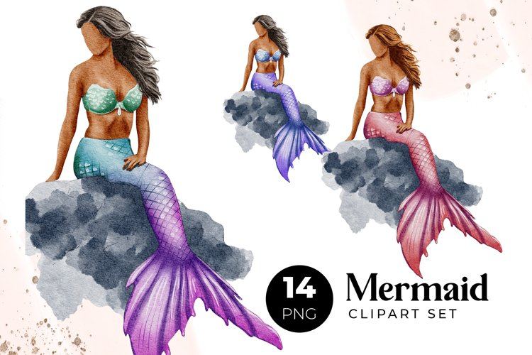 Mermaid Tail Clipart Set for create Personalized Wall Art
