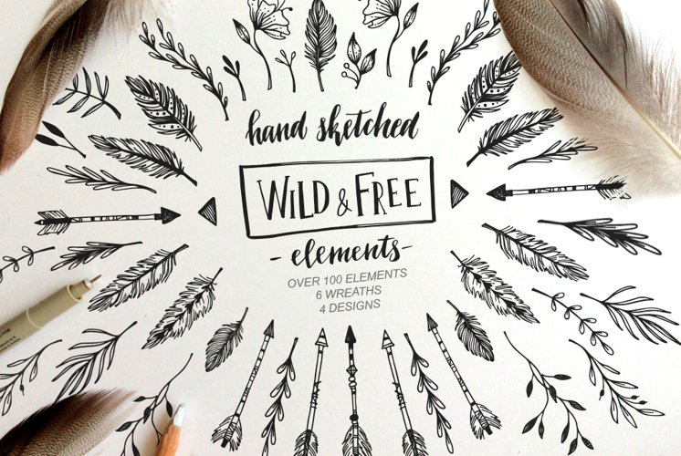 Wild and Free. Floral design elements. example image 1