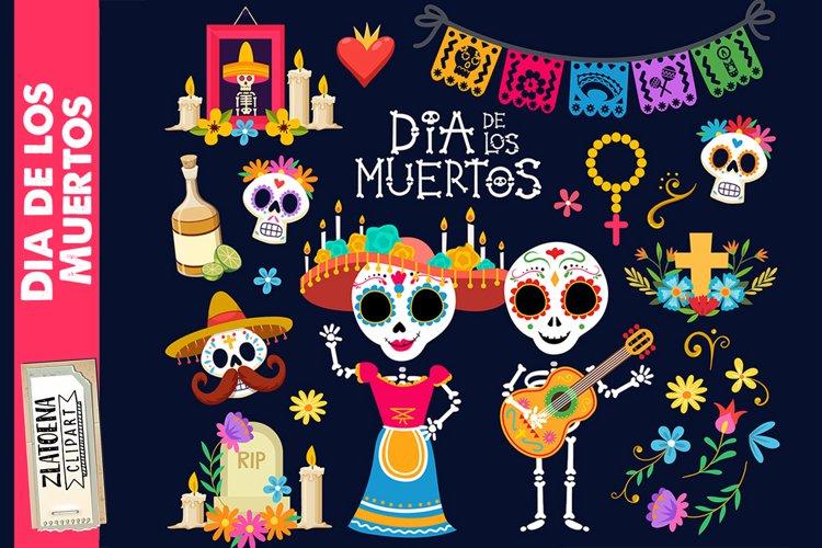 Day of the dead clip art Dia de los Muertos graphics Fiesta