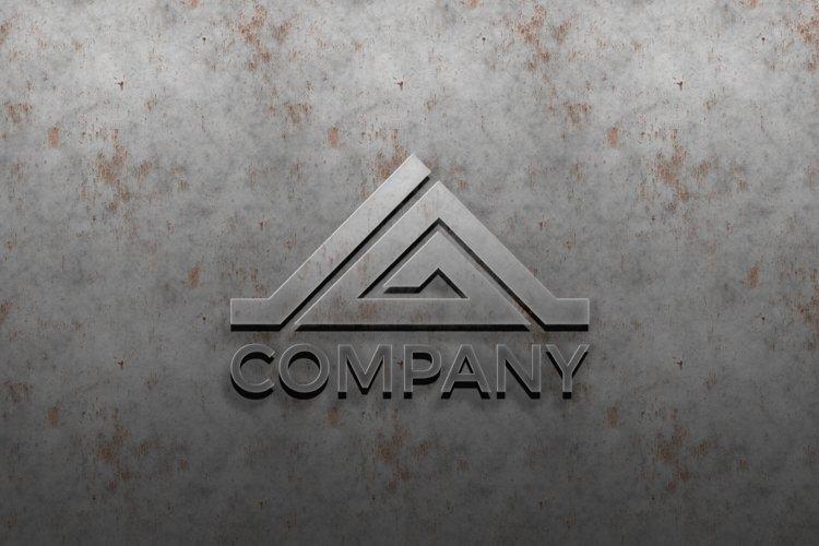 3D metal logo mockup on silver wall. premium mockup example image 1