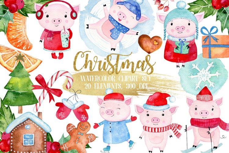Christmas watercolor clipart, Cute piggs clipart example image 1