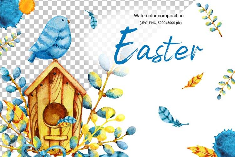 Watercolor easter spring clipart. Bird, birdhouse, willow example image 1