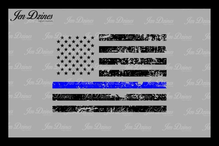 Blue Line Distressed Flag SVG DXF EPS PNG example image 1