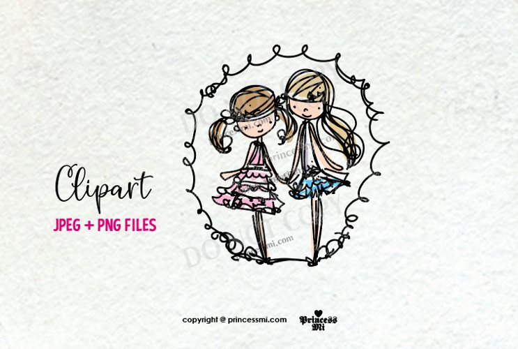 two girls clipart, little doll clipart, doodle style