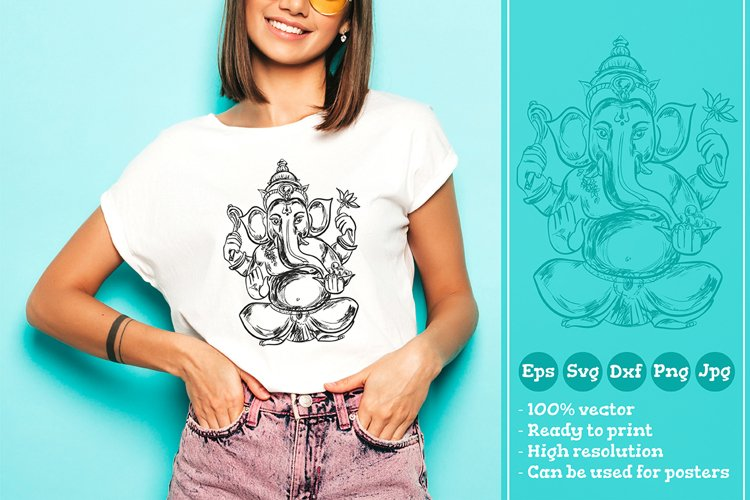 Sitting Lord Ganesha T-shirt Illustration SVG File example image 1