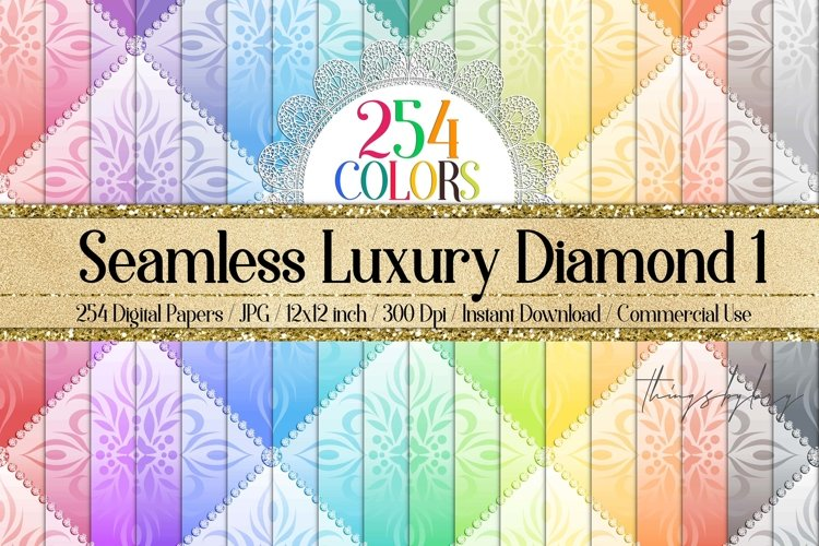 254 Seamless Luxury Color Diamond Upholstery Digital Papers example image 1