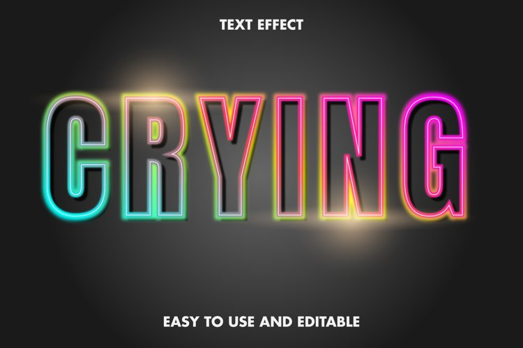 Crying text effect. editable and easy to use. premium vector example image 1