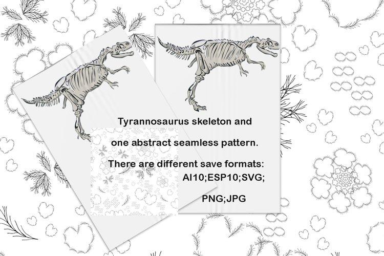 Tyrannosaurus rex skeleton profile vector seamless pattern
