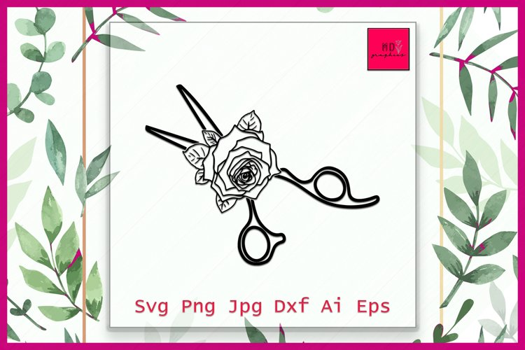 Scissors SVG file, Scissors cut file, Scissors Floral, SVG example image 1