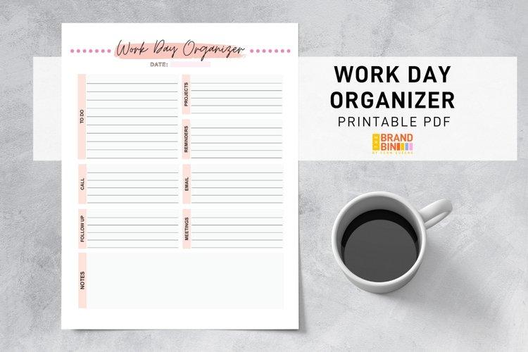 Work Day Organizer Printable - Business Office Planning PDF