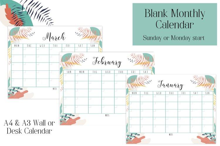 Monthly Calendar, Blank Calendar, Sunday start, Monday start example image 1