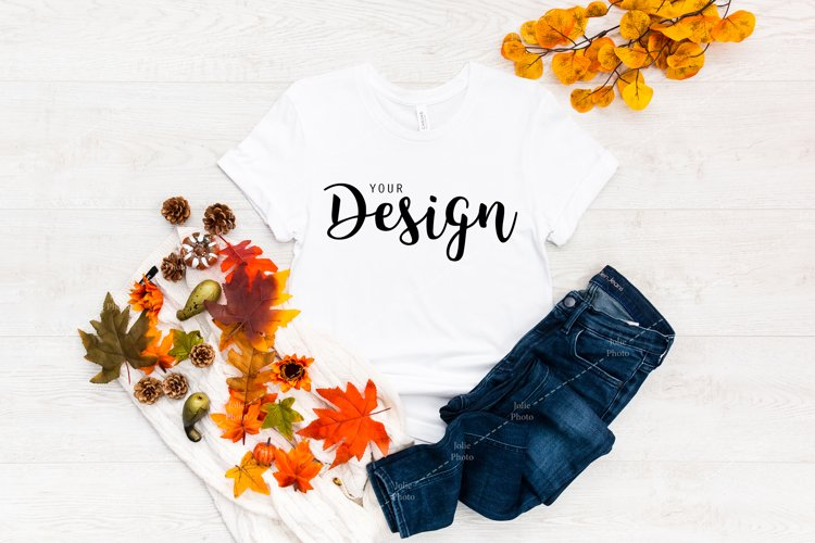 Bella Canvas 3001 White T-shirt Mockup for Fall example image 1
